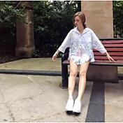 レディース お出かけ 春 夏 シャツ,キュート スタンド フラワー 刺繍 コットン 長袖