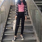 Mujer Sencillo Tiro Medio Microelástico Ajustado Chinos Pantalones,Pitillo Un Color