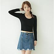 Mujer Simple Casual/Diario Camiseta,Escote Redondo Un Color Manga Larga Algodón Otro