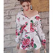 Mujer Simple Casual/Diario Verano Sudadera Pantalón Trajes Floral Manga Larga
