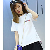 Mujer Simple Casual/Diario Camiseta,Escote Redondo Un Color A Rayas Manga Corta Algodón