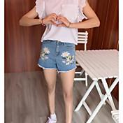 Mujer Adorable Tiro Medio Microelástico Vaqueros Shorts Pantalones,Corte Recto Floral