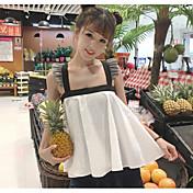 Mujer Simple Noche Camisa,Con Tirantes Un Color Sin Mangas Algodón