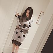 Mujer Línea A Vaina Vestido Noche Casual/Diario Simple Bonito Chic de Calle,Un Color A Lunares Escote Redondo Sobre la rodilla Manga Larga