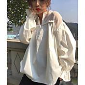 Mujer Simple Noche Camisa,Escote en Pico Un Color Manga Larga Algodón