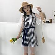 Mujer Corte Ancho Vestido Casual/Diario A Rayas Escote Redondo Hasta la Rodilla Manga Corta Algodón Poliéster Verano Tiro Medio