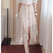 Mujer Vacaciones Asimétrico Faldas,Columpio Verano Un Color