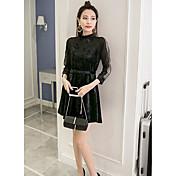 Mujer Línea A Vestido Casual/Diario Simple,Un Color Escote Chino Sobre la rodilla Manga Larga Algodón Otoño Tiro Alto Microelástico Medio