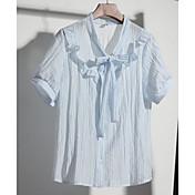 Mujer Simple Casual/Diario Verano Camiseta,Cuello Camisero A Rayas Manga Corta Otro