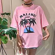 Mujer Bonito Casual/Diario Camiseta,Escote Redondo Estampado Letra Manga Corta Algodón