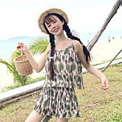 Mujer Chic de Calle Noche Verano T-Shirt Pantalón Trajes,Escote Redondo Floral Manga Corta Espalda al Aire Inelástica