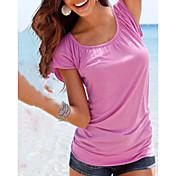 レディース お出かけ カジュアル/普段着 Tシャツ,シンプル ラウンドネック ソリッド コットン 半袖