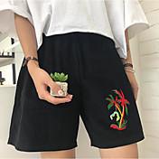 Mujer Sencillo Tiro Medio Microelástico Chinos Shorts Pantalones,Corte Recto Estampado