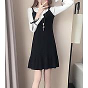 Mujer Corte Sirena Vestido Casual/Diario Un Color Escote Redondo Sobre la rodilla Manga Larga Algodón Primavera Otoño Tiro Alto