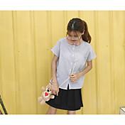 Mujer Simple Noche Camisa,Cuello Camisero Un Color A Rayas Manga Corta Algodón