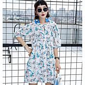 Mujer Corte Ancho Vestido Casual/Diario Floral Escote Redondo Sobre la rodilla Media Manga Algodón Verano Tiro Medio Rígido Opaco