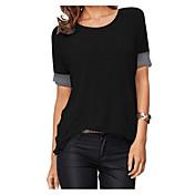 Mujer Simple Casual/Diario Camiseta,Escote Redondo Un Color Media Manga Otro