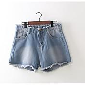 Mujer Sencillo Tiro Alto Microelástico Shorts Pantalones,Delgado Un Color