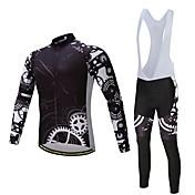 ビブタイツ付きサイクリングジャージー 男女兼用 長袖 バイク 洋服セット 保温 厚型 ポリエステル シリコン フリース ライクラ® 冬 サイクリング/バイク