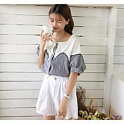 Mujer Simple Noche Camisa,Escote en U Un Color A Rayas Manga Corta Algodón