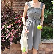 Mujer Línea A Vestido Casual/Diario Simple,Cuadrícula Escote en U Sobre la rodilla Sin Mangas Lino Verano Tiro Alto Microelástico Medio