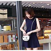 Mujer Simple Noche Casual/Diario Verano T-Shirt Falda Trajes,Escote Redondo Un Color Sin Mangas