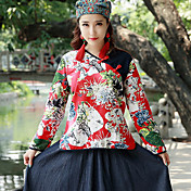 Mujer Tejido Oriental Casual/Diario Camisa,Escote en Pico Floral Bloques Manga Larga Algodón Lino