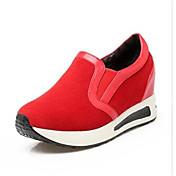 Mujer Zapatos Cuero Nobuck Primavera Otoño Confort Zapatos de taco bajo y Slip-On Con Para Casual Negro Rojo