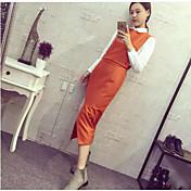 Mujer Simple Trabajo Primavera Otoño Camisas Falda Trajes,Cuello Camisero Un Color Manga Larga