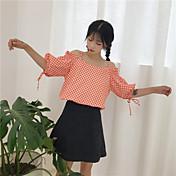 Mujer Simple Casual/Diario Camisa,Escote Barco Cuadrícula Media Manga Algodón