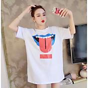 Mujer Simple Noche Camiseta,Escote Redondo Bloques Manga Corta Algodón