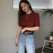 Mujer Simple Deportes Camiseta,Escote Redondo Un Color Manga Corta Algodón