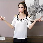 Mujer Simple Casual/Diario Camiseta,Con Tirantes Estampado Manga Corta Poliéster