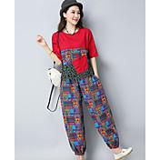 Mujer Tejido Oriental Casual/Diario Verano T-Shirt Pantalón Trajes,Escote Redondo Estampado Media Manga