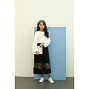 Mujer Simple Casual/Diario Camiseta,Escote Redondo Geométrico Manga Larga Algodón