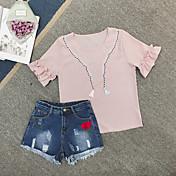 Mujer Simple Casual/Diario Verano Blusa Pantalón Trajes,Escote Redondo Estampado Manga Corta
