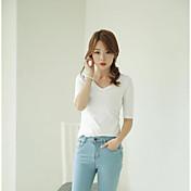 Mujer Bonito Casual/Diario Verano Camiseta,Escote Redondo Un Color Media Manga Algodón Fino