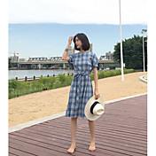 Mujer Línea A Vestido Casual/Diario Cuadrícula Escote Redondo Hasta la Rodilla Manga Corta Poliéster Verano Tiro Alto Rígido Medio