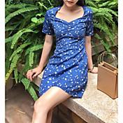 Mujer Línea A Vestido Noche Casual/Diario Simple,Floral Escote en Pico Sobre la rodilla Manga Corta Algodón Verano Tiro Alto Microelástico