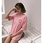 Mujer Simple Noche Camiseta,Escote Redondo Un Color Estampado Letra Media Manga Algodón