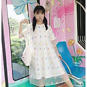 Mujer Corte Ancho Vestido Casual/Diario A Lunares Escote Redondo Midi Manga Corta Poliéster Verano Tiro Medio Rígido Fino