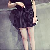Mujer Adorable Sencillo Tiro Medio Microelástico Shorts Pantalones,Delgado A Rayas Bloques