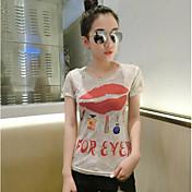 Mujer Simple Casual/Diario Camiseta,Escote en U Profunda Un Color Estampado Manga Corta Algodón