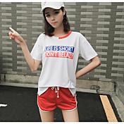 Mujer Simple Casual/Diario Verano T-Shirt Pantalón Trajes,Escote Redondo Un Color Letra Manga Corta Microelástico
