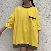 Mujer Simple Bonito Noche Casual/Diario Camiseta,Escote Redondo Un Color Manga Corta Algodón