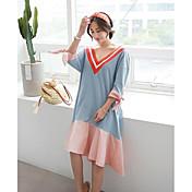 Mujer Corte Ancho Vestido Casual/Diario Simple,Un Color Escote en Pico Sobre la rodilla Manga 3/4 Algodón Verano Tiro Alto Rígido Medio
