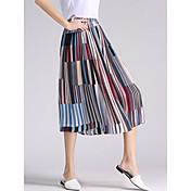 Mujer Boho Chic de Calle Tiro Medio Inelástica Perneras anchas Pantalones,Corte Ancho Perneras anchas A Rayas Plisado
