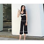 レディース カジュアル/普段着 夏 タンクトップ パンツ スーツ,シンプル ストラップ ソリッド ノースリーブ