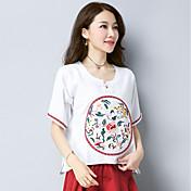 Mujer Simple Casual/Diario Camiseta,Escote Redondo Un Color Bordado Manga Corta Algodón
