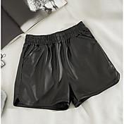 Mujer Sexy Tiro Medio Inelástica Shorts Pantalones,Corte Recto Un Color